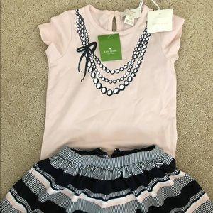 Kate Spade NWT 18 months pink shirt and skirt set